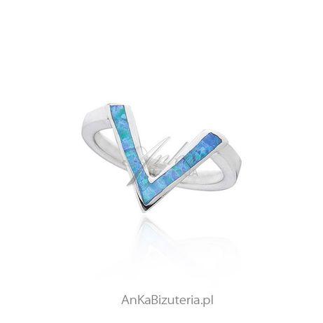 ankabizuteria.pl łańcuszek monery Pierścionek srebrny z niebieskim opa