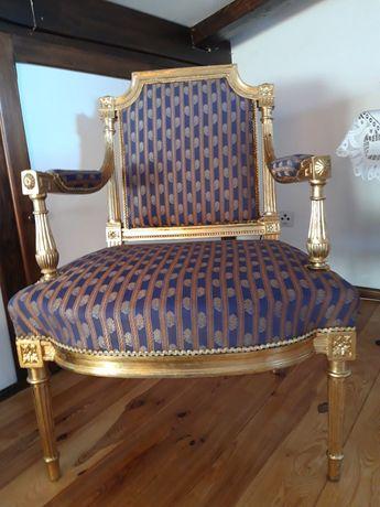 fotel retro złoty