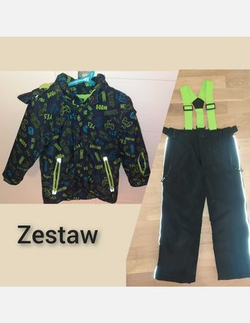 Zestaw kurtka zimowa 116 spodnie narciarskie coolclub smyk zielona