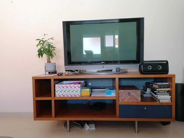 Móvel vintage para TV - castanho em madeira