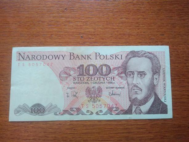 Banknot 100 złotych PRL (1988) Ludwik Waryński