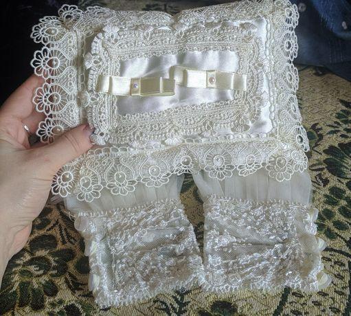 Подушечка для колец и митенки (перчатки) на свадьбу