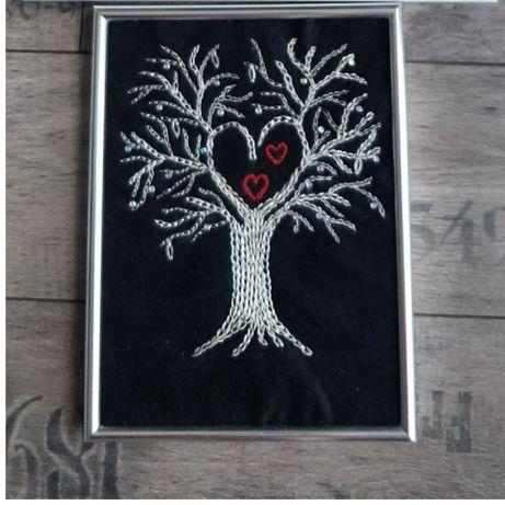 Drzewko szczęścia wyszywane