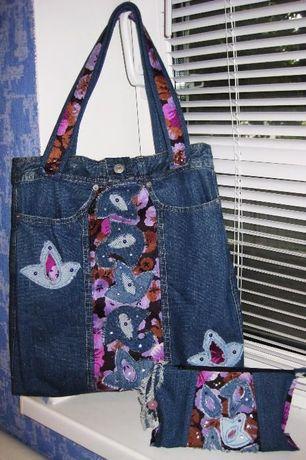 Джинсовая сумка в наборе с косметичкой