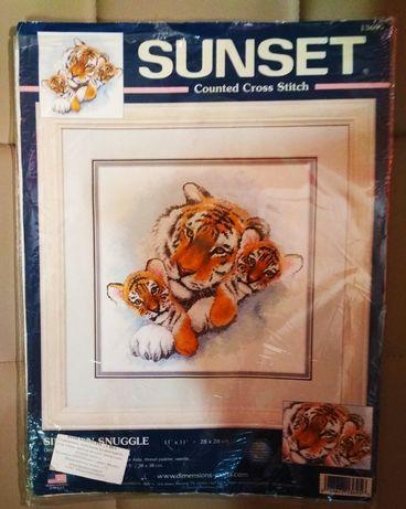 Набор для вышивания нитками, вышивка Тигры (Dimensions) + подарок