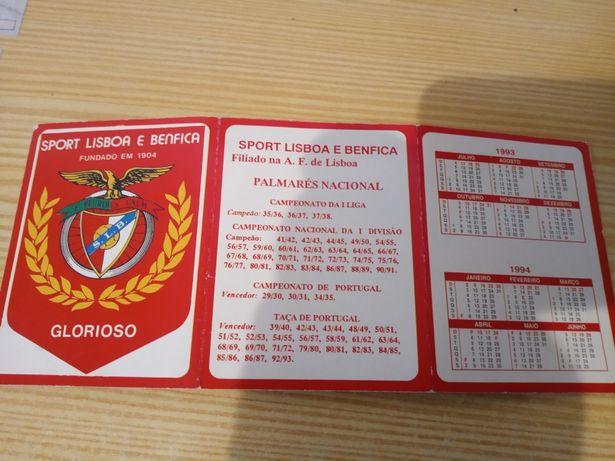 Calendário Benfica do Campeonato Nacional 93-94