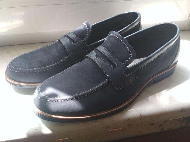"""туфли мужские """"МИДА"""",нубук,синие,42 размер,длина по стельке 28.5см"""