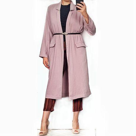 Liliowy długi płaszcz Asos, r. S/M, trench, uniwersalny, nowy z metką