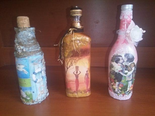 Декоративные бутылки, декупаж, ручная работа, подарки,декор бутылок