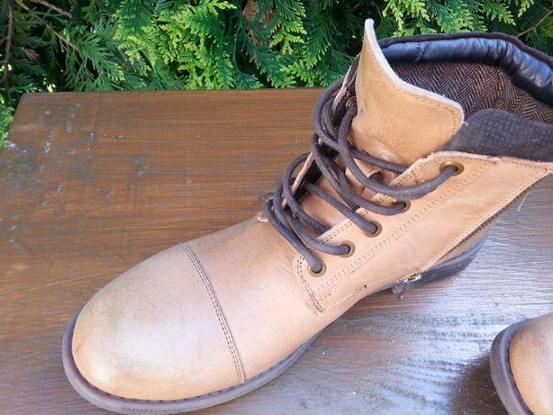 męskie buty ze skóry carmelowej