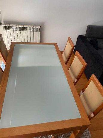 Mesa linda sala cerejeira com vidro temperado no centro + 5 cadeiras