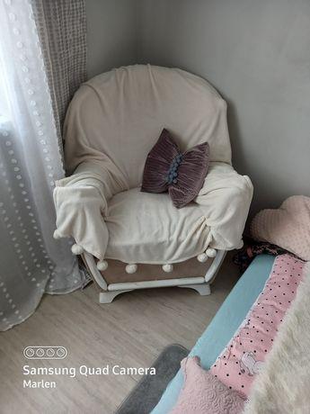 Fotel uszak PRL bez,biel,braz
