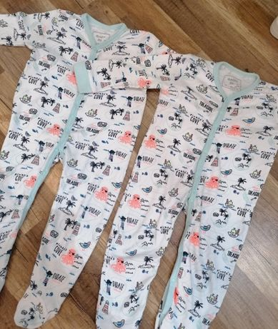 Pajacyki piżamki dla bliźniaków 86 białe