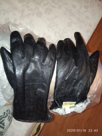 Перчатки унисек кожаные 100% шкіряні подогре теплые на зиму с мехом