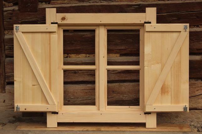 Okno drewniane skrzynkowe z okiennica domek altana wiata 90x90cm