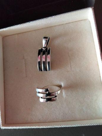 Srebrna przywieszka i pierścionek