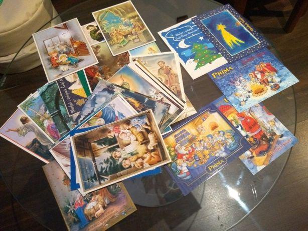 Świąteczne kartki pocztowe komplet 52 sztuk z lat ubiegłych.