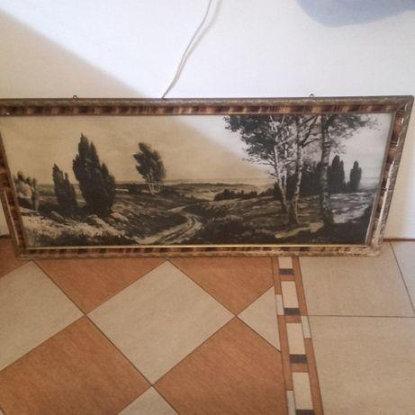 Stary duży obraz/oleodruk