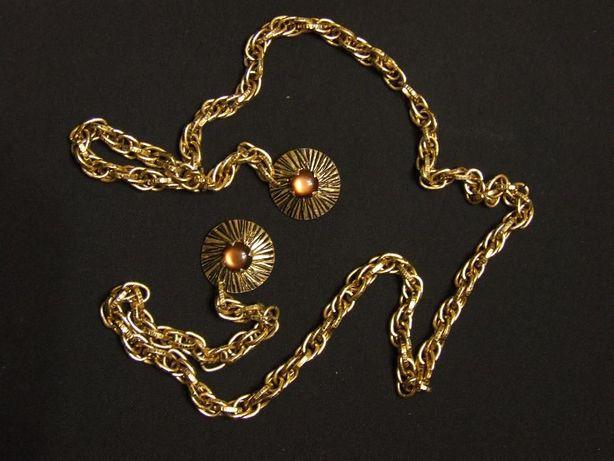 Biżuteria w kolorze złota z zapinkami i łańcuchem dł ok 1metr