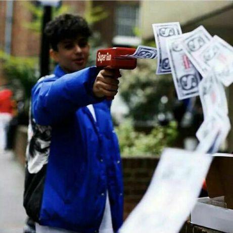 money gun arma de dinheiro pistola com 100 notas