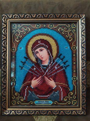 """Икона Божией Матери ,,Семистрельная"""" вышитая бисером."""