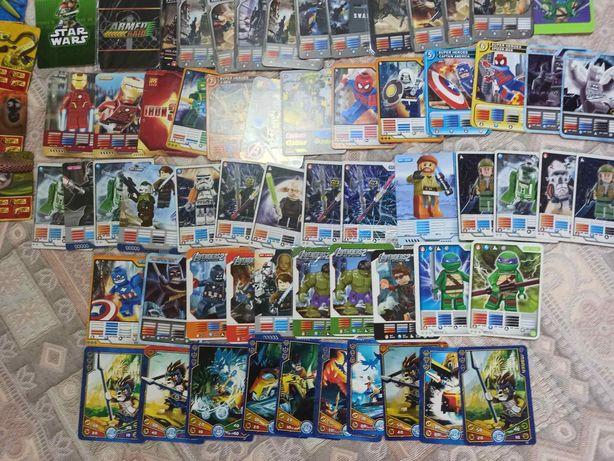 Карточки - лего. Супер - герои, звёздные войны, военные и панда Конфу.