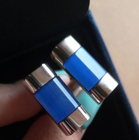 Spinki do mankietów niebiesko srebne