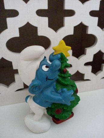 Estrumfe com árvore de Natal Smurf coleccionável 1981