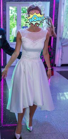 niebanalna suknia ślubna krótka z przodu