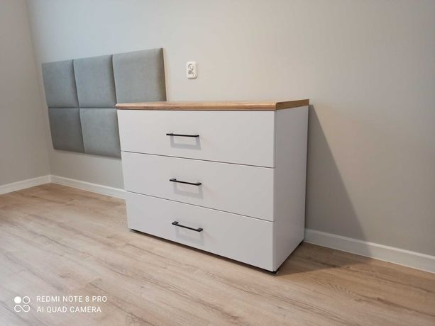 Komoda sypialnia szuflady solidna biała