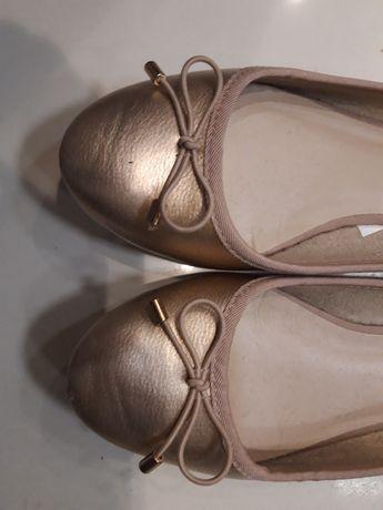 C&A złote śliczne baleriny wiosna lato balerinki 36