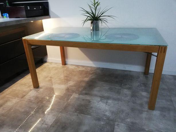 Stół Ikea Risti drewniany z szybą mleczną z szufladami