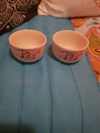 Conjunto de 2 taças japonesas em faiança pintadas à mão