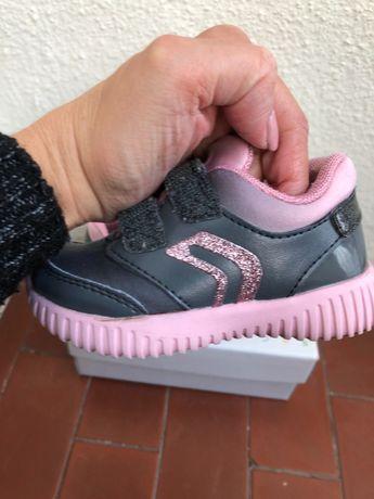 Ténis Geox cinzentos e rosa - menina - n.21 (de inverno)
