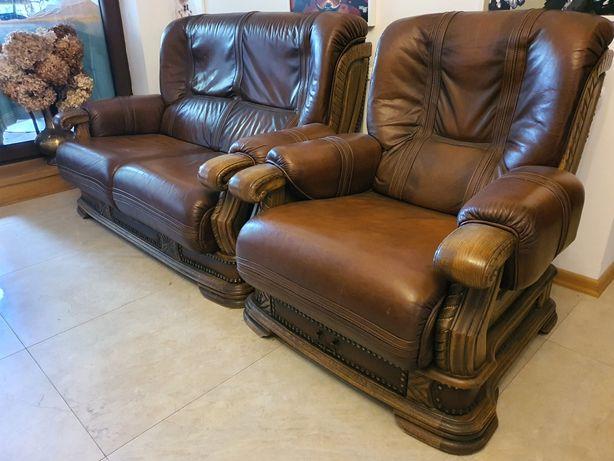 Wypoczynek, 2 fotele i kanapa skora/drewno