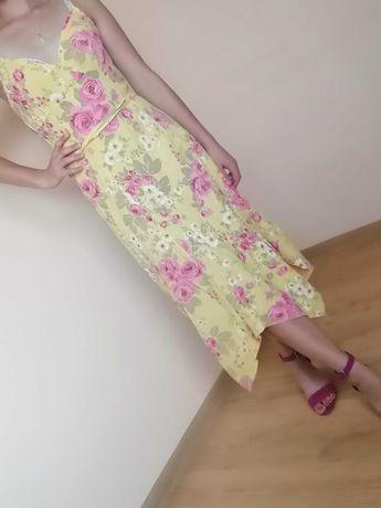 Sukienka letnia, żółta w kwiaty, za kolano, rozmiar M