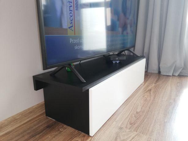 Szafka pod telewizor TV biało-czarna wysoki połysk