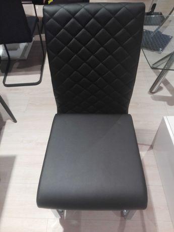 Krzesła ekoskóra czarne NOWE z ekspozycji Farra 4 szt