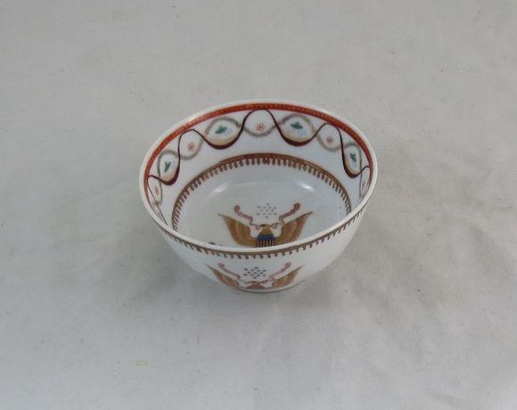 Tigela Taça Malga Porcelana Chinesa Aguia Americana; Seculo XX; 11cm