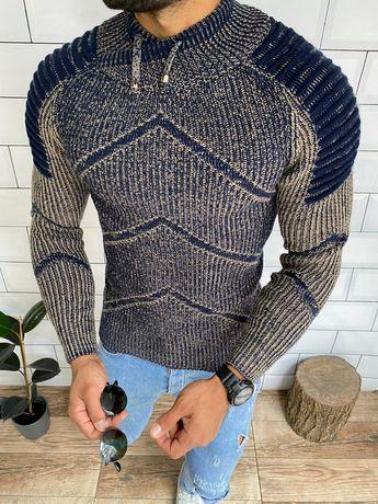 Зимний свитер вязаный. Мужской свитер крупной вязки серый чёрный