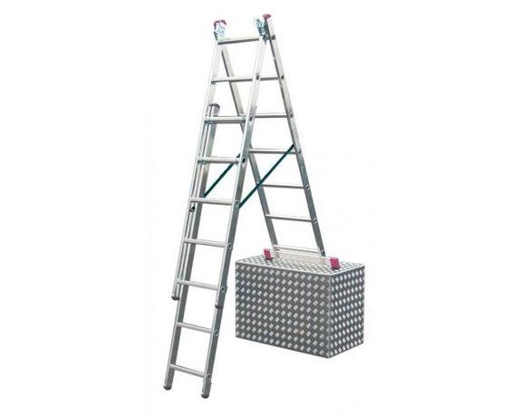 Алюминиевая трехсекционная лестница 3х7 ступеней, стремянка