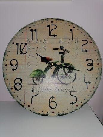 Zegar na ścianę z rowerem, dla dziecka