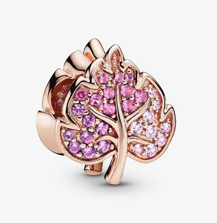 Charms Rose Gold Rose Błyszczące liście do bransoletki Pandora S925