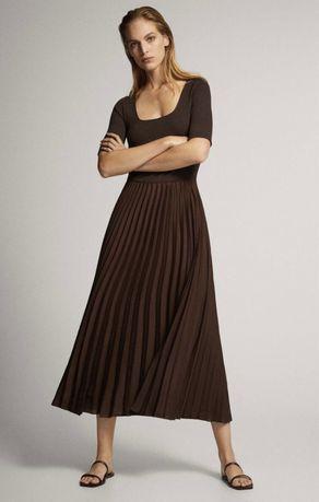Sukienka plisowana Massimo Dutti brązowa S/36