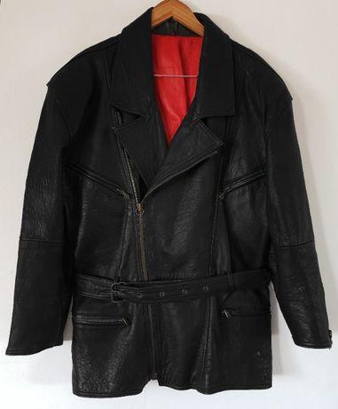 Czarna męska kurtka ramoneska, gruba skóra naturalna, pasek 2XL / 3XL