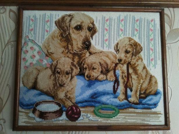 Картина большая крестиком * Собаки* . Символ года