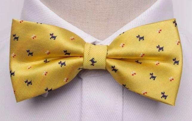 Mucha muszka męska do garnituru elegancka żółta pieski teriery zabawna
