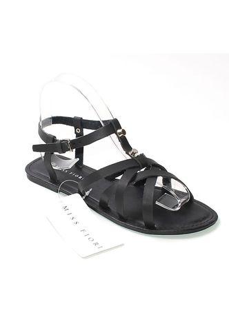 MISS FIORI sandały gladiatorki paski ćwieki 37 czarne NOWE