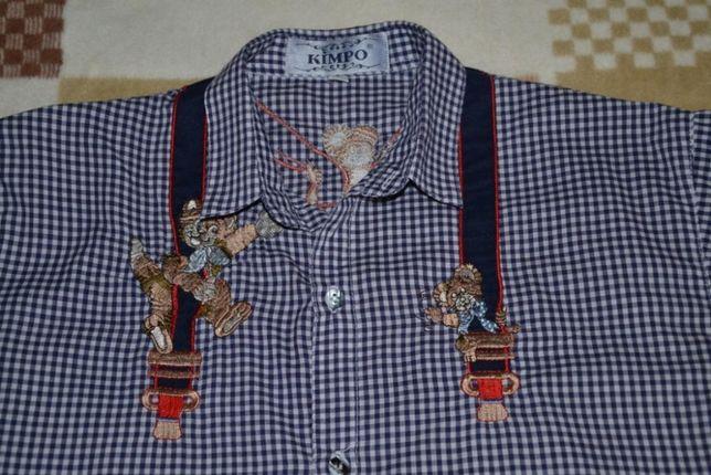 Рубашка-тенниска для мальчика р.164 с вышивкой подтяжки