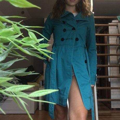 Płaszcz prochowiec turkusowy streetwear vintage